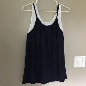 Just My Size | Navy blue & white layered tank top